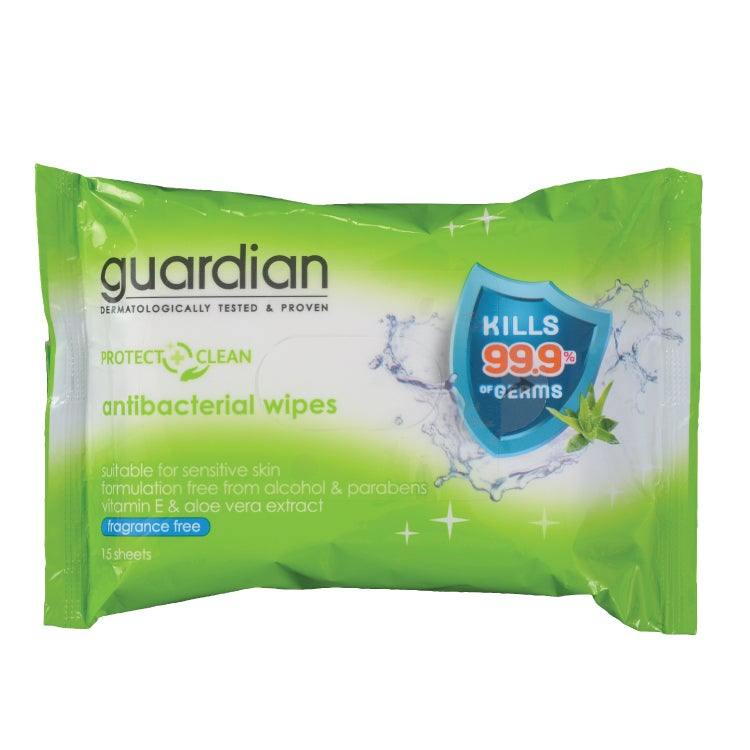 Guardian Protect & Clean Antibacterial Wipes Fragrance Free 15's - Skin Care