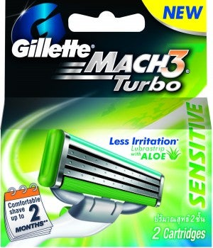 **Gillette Mach 3 Turbo Sensitive  Cartridges (2 pieces)