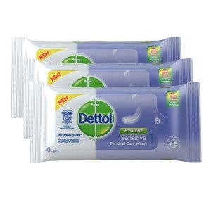 Dettol Personal Care Wipes Sensitive 10's Pack Of 3