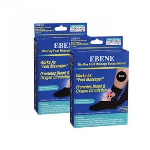 **Ebene Bio-Ray Foot Massage Socks Men's Black Long Pack-of-2 (2 Pairs)
