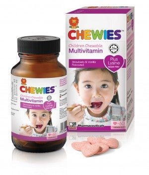 Chewies Children Chewable Multivitamin Plus Lysine Strawberry & Vanilla Flavoured 60s
