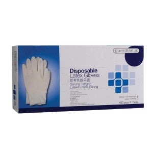 Guardian Disposable Latex Gloves Medium 100s
