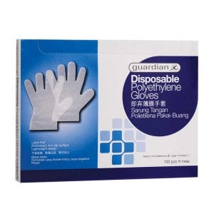 Guardian Disposable Polyethylene Gloves Medium 100s