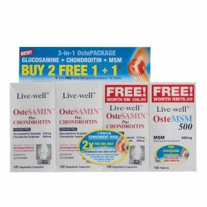 Live-well OsteSAMIN plus Chondroitin 100s Pack-Of-2 + 100s + OsteMSM 150s