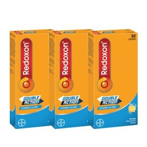 **Redoxon Effervescent Double Action C 1g + Zinc 30 Tablets Pack-Of-3