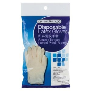 Guardian Disposable Latex Gloves Medium 10s