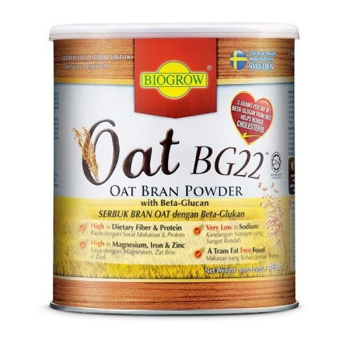 BIOGROW OAT BG22 480GRAM OAT BRAN POWDER WITH HIGH BETA GLUCAN HIGH IN DIETARY FIBER AND PROTEIN VERY LOW IN SODIUM TRANS FAT FREE HIGH IN MAGNESIUM IRON AND ZINC SUITABLE FOR VEGETARIAN SUITABLE FOR WEIGHT CONTROL PROGRAMME